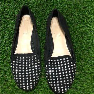 Zara black sequence slip on loafers